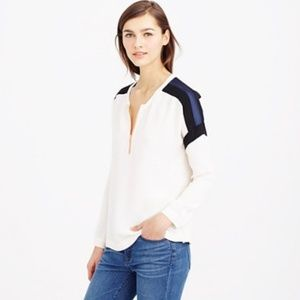 J crew color block c1685 long sleeve zip blouse